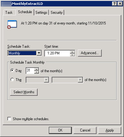 Last Day of Month - Using WIndows 2003 Task Scheduler