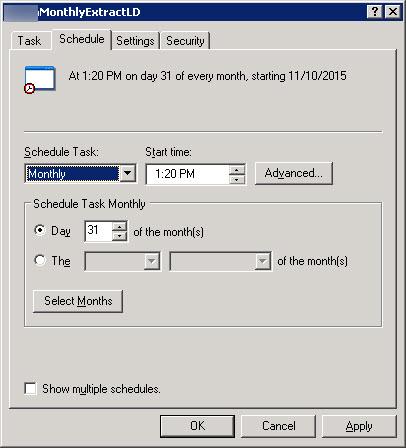 Last Day of Month - Using WIndows 2003 Task Scheduler