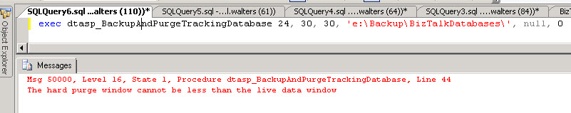 dtasp_BackupAndPurgeTrackingDatabase_Errors