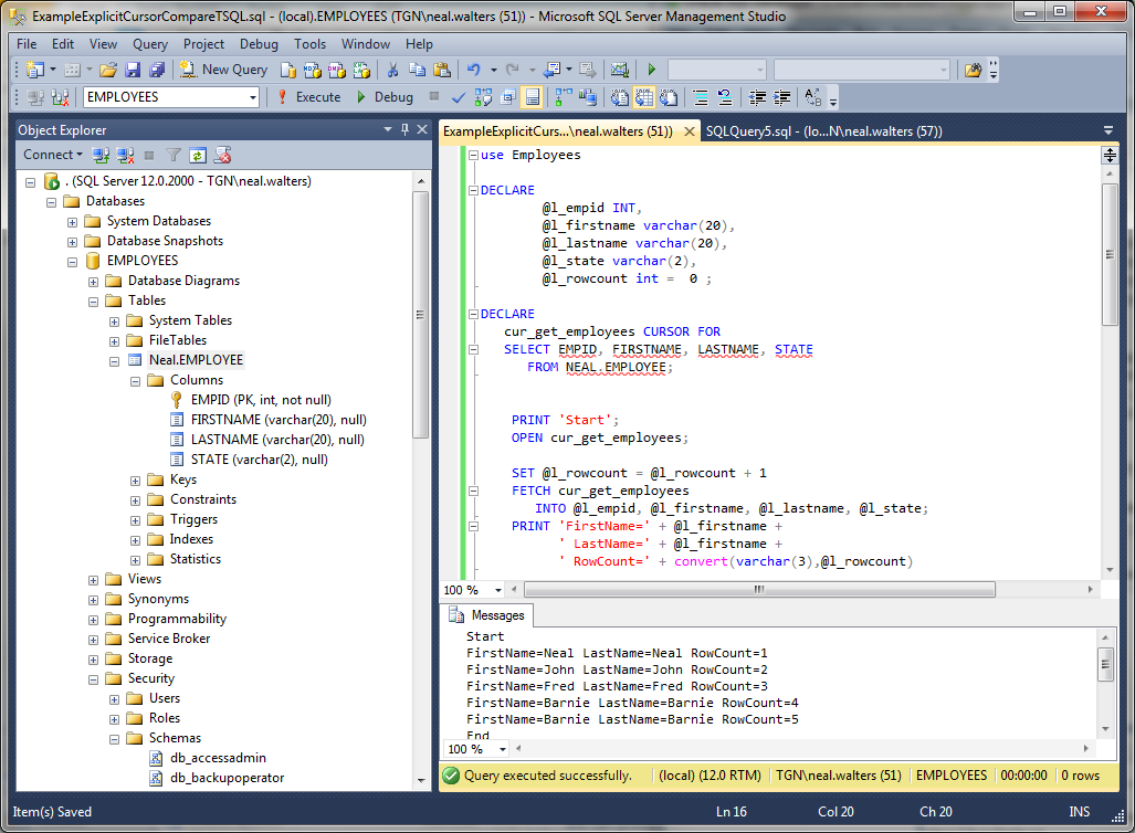 Comparing Cursors between Oracle and Microsoft SQL