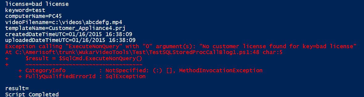 How to Catch SQL Stored Proc Errors in PowerShell